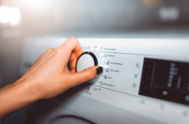 turning on washing machine